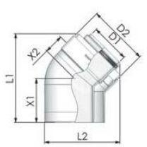 Tricox PPs/Alu könyök 80/125 mm, 45° (2db)