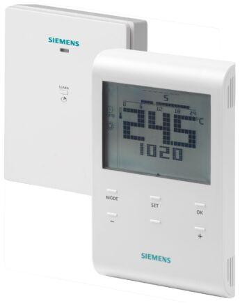 Siemens RDE100.1 RFS heti időprogramos vezeték nélküli szobatermosztát, vevőegységgel együtt