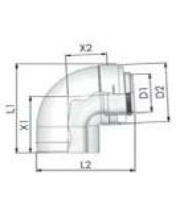 Tricox Alu/Alu könyök 100/150mm, 87°