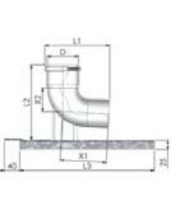 Tricox Alu bekötő könyök 60mm tartó sínnel