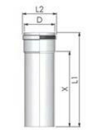 Tricox Alu cső 60mm, hossz 250 mm