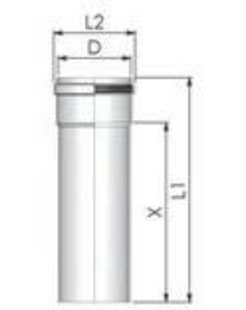 Tricox PPs cső 110 mm, hossz 1000 mm