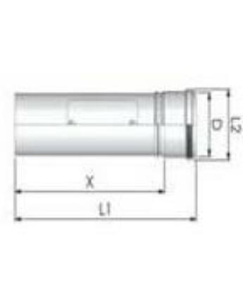 Tricox Alu ellenőrző egyenes idom 80mm, fehér