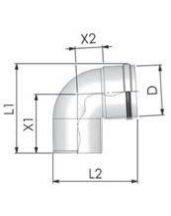 Tricox Alu könyök 80mm, 87°, fehér