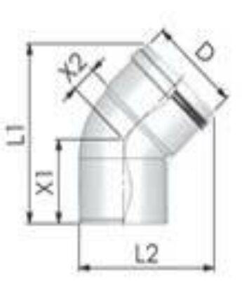 Tricox Alu könyök 60mm, 45°