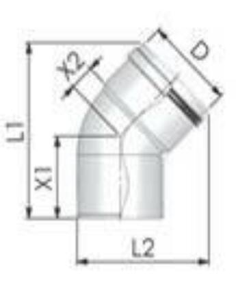 Tricox PPs könyök 60mm, 45°