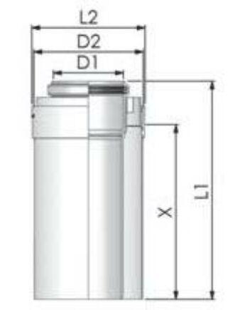 Tricox PPs/Alu cső 110/160mm, hossz 250mm