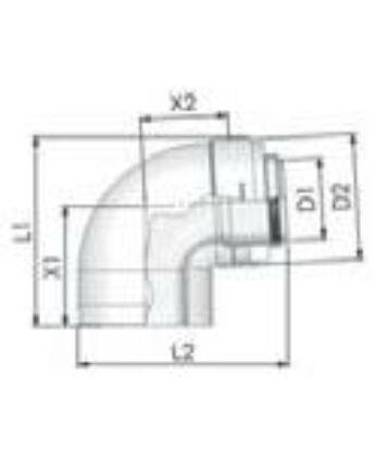 Tricox PPs/Alu könyök 80/125 mm, 87°