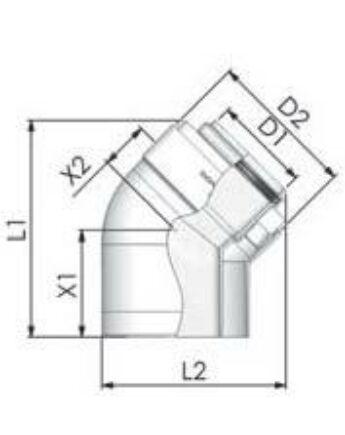 Tricox PPs/Alu könyök 60/100mm, 45° (2db)