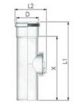Tricox PPs ellenőrző egyenes idom 200 mm