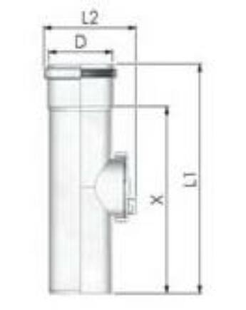 Tricox PPs ellenőrző egyenes idom 110 mm