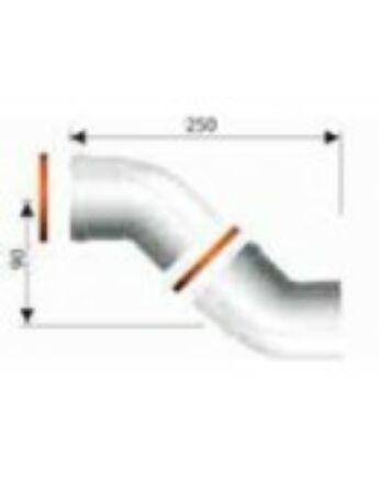Ariston 45°-os könyökidom, alu, Ø60/100 mm, (2 db/csomag)
