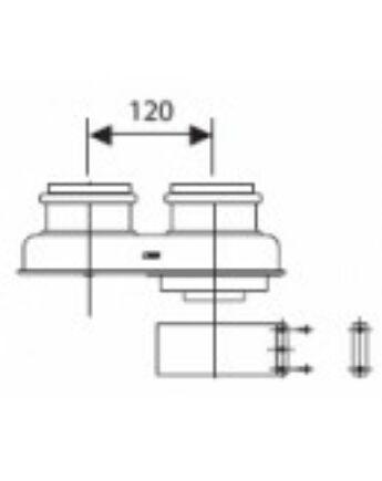Ariston Közösítő idom, alu, 80/80 mm -> Ø60/100 mm